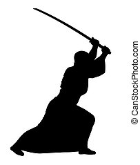 Aikido - Vector illustration of aikido techniques with sword