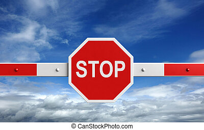 Barrier - 3d rendering of barrier with stop sign on sky...