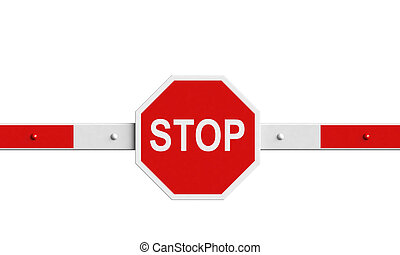 Barrier - 3d rendering of barrier with stop sign isolated...