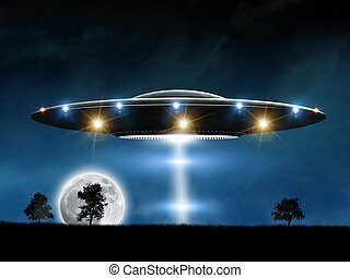 Flying saucer - 3d rendering of flying saucer ufo on night...