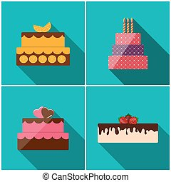 Birthday Cake Flat Icon Set with Long Shadow for Your Design, Ve