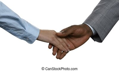 Afro businessman shaking woman's hand. Business handshake on...