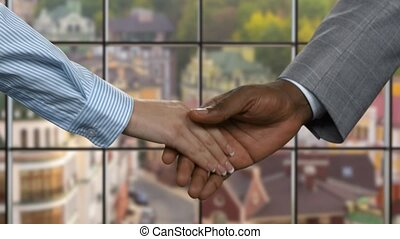 Black man shaking businesswoman's hand.