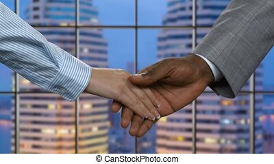 Businesswoman shakes black man's hand. Evening handshake in...