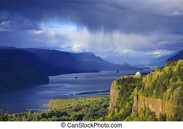 Changing weather in the Gorge OR. - A passing storm in the...