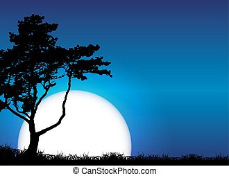 Silhouette of Tree on Sunset Background. Vector Illustration