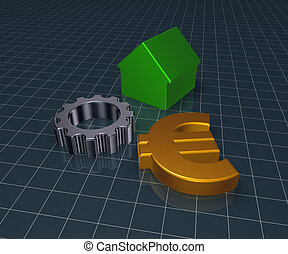 eurosymbol, house and gear wheel - 3d rendering