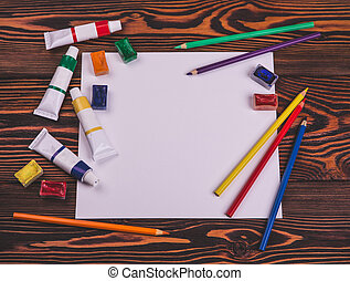 Artist and paint mockup - Sheet of paper, colored pencils,...