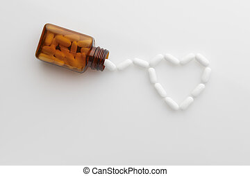 pills 2 - tablets coming out of bottle and forming shape of...
