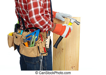 Man builder with construction tools. - Builder handyman with...