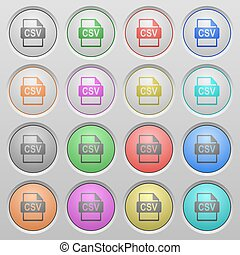 CSV file format plastic sunk buttons - Set of CSV file...