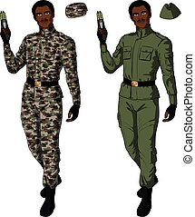 African male in green khaki holds taser - African male in...