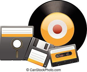 Classic disks and tapes illustration