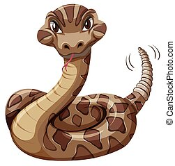 Rattlesnake on white background illustration