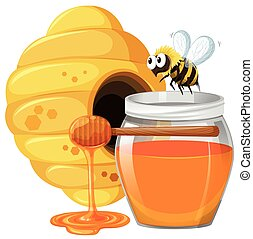 Bee and honey in jar illustration