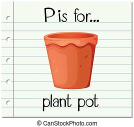 Flashcard letter P is for plant pot illustration