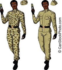 African male in sand khaki holds taser - African male in...