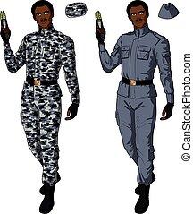 African male in gray khaki holds taser - African male in...