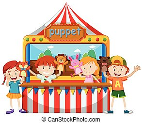 Children playing puppet together illustration