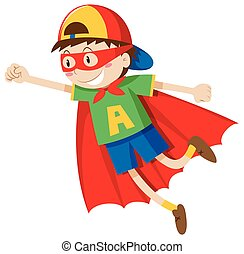 Little boy in superhero costume illustration