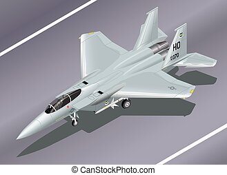 Isometric Vector Illustration of an F-15 Jet Fighter Parked...
