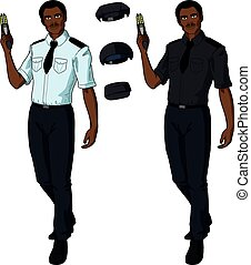 African male police officer holds taser