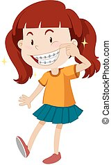 Little girl with braces illustration