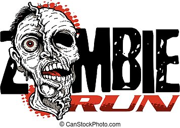 zombie run design with scary zombie head for run competition