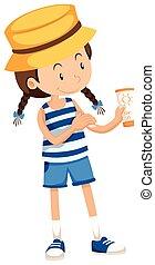 Little girl with sunlotion tube illustration