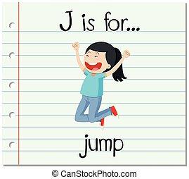 Flashcard letter J is for jump illustration