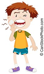 Little boy having toothache illustration