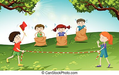 Children playing game at the field illustration