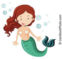 Mermaid with green fin illustration