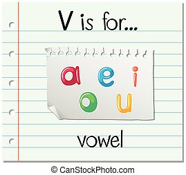 Flashcard letter V is for vowel illustration