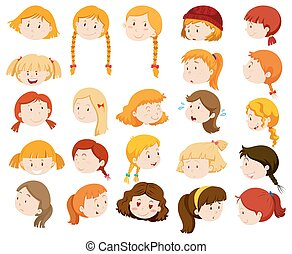 Girls with different facial expressions