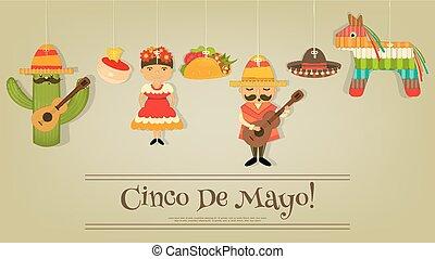Cinco de Mayo - Mexican Card in Retro Style Cinco de Mayo...