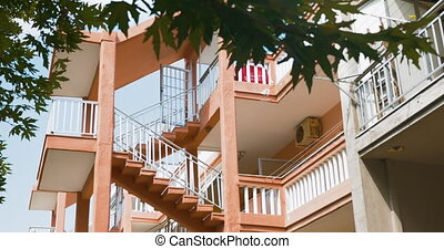 Exterior Stairs between Levels of Multi-Storey House - Shot...
