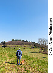 Landscape French Limousin - Man with dog in landscape French...
