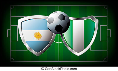 Argentina versus Nigeria abstract vector illustration isolated on white background. Soccer match in South Africa 2010. Shiny football shield of flag Argentina versus Nigeria