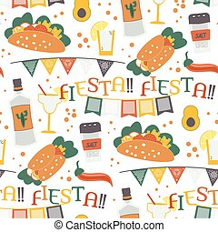 Cinco de Mayo vector seamless pattern with traditional Mexican symbols