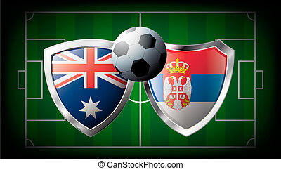 Australia versus Serbia abstract vector illustration isolated on white background. Soccer match in South Africa 2010. Shiny football shield of flag Australia versus Serbia