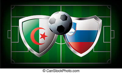 Algeria versus Slovenia abstract vector illustration isolated on white background. Soccer match in South Africa 2010. Shiny football shield of flag Algeria versus Slovenia