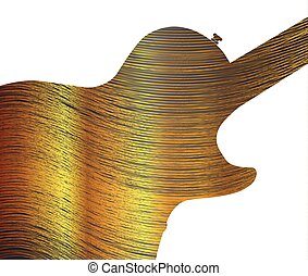 Fine Gold Thread As Guitar Silhouette - Fine gold thread...