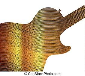 Fine Gold Thread As Guitar Silhouette - Fine gold thread...