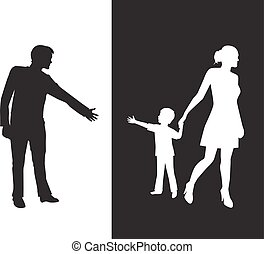 Divorce - silhouette of a man reaching to his young child,...