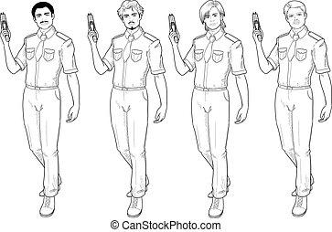 male police officer holds taser