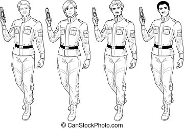 Lineart male in military uniform holds taser - Caucasian...