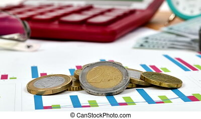 Euro Coins - Stack Of Euro Coins On Stock Chart, Close Up