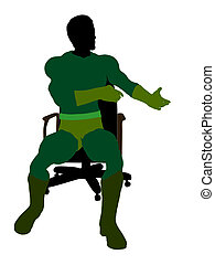 Male Super Hero Sitting On A Chair Illustration Silhouette -...