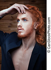 Beautiful metrosexual man. - Portrait of a Man with red...